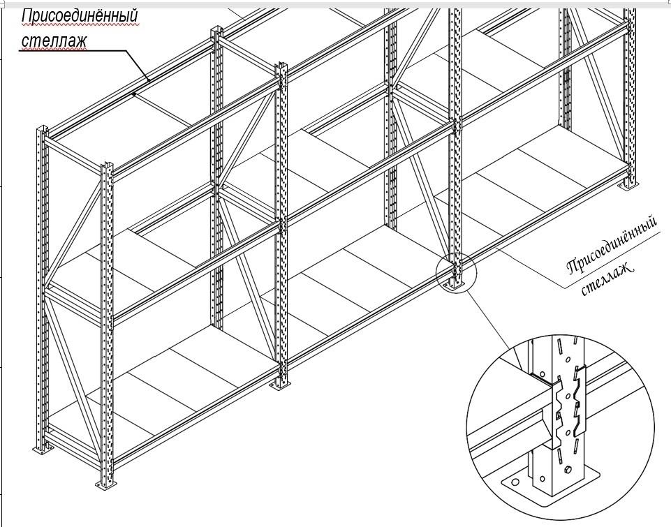 Сборный стеллаж усиленный (глубина 600, высота 2000 мм)