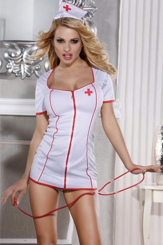 OS Костюм медсестры Candy Girl Angel (платье, стринги, головной убор, стетоскоп), белый фото
