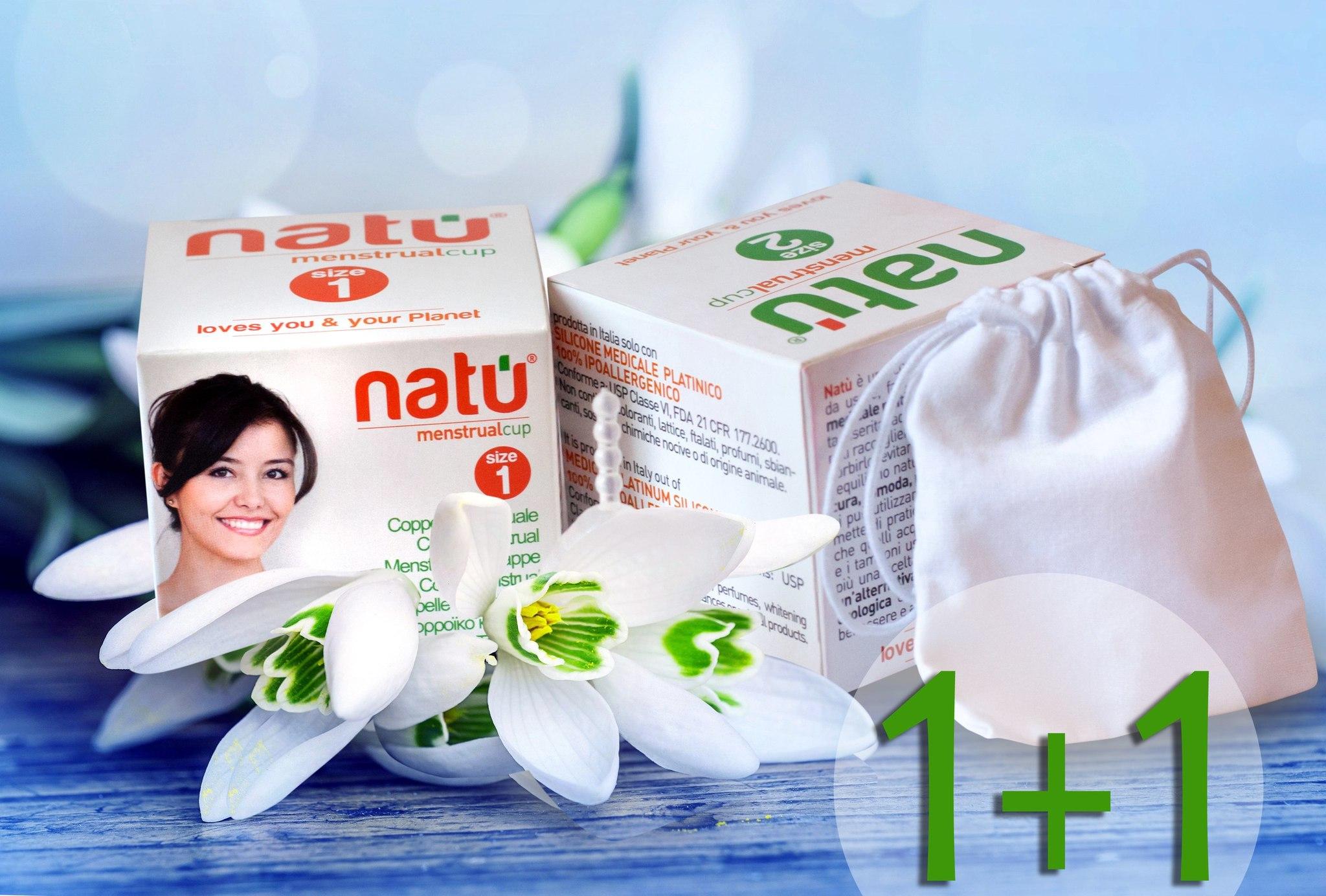 Премиум набор менструальных чаш NATU 1 и 2 размера