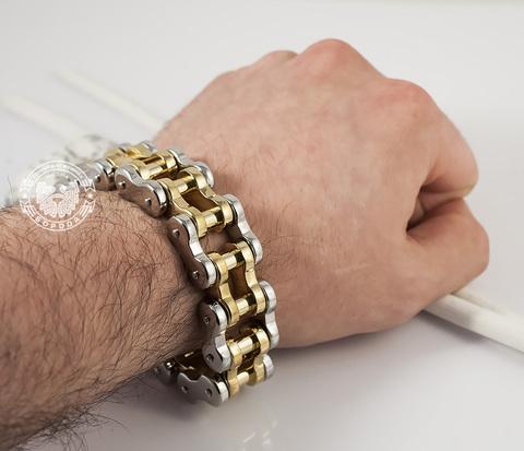 BM354 Крутой мужской браслет цепь со звеньями золотого и серебристого цветов