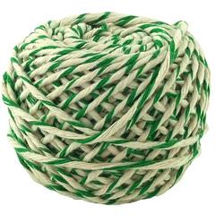 Шнур хлопковый Бело-зеленый, 2 нити, 50 м