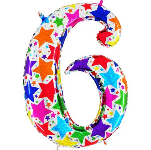 Голографическая Цифра 6 со Звёздами