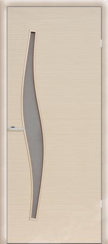 Дверь Сибирь Профиль Волна (С-10), цвет беленый дуб, остекленная