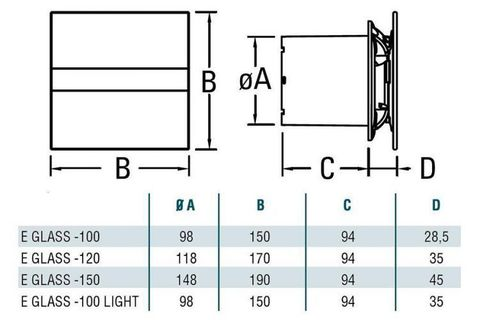 Накладной вентилятор Cata E 100 GTH (Влажность, таймер, термометр, дисплей) + обратный клапан
