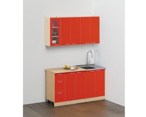 Кухня САН-МАРИНА-11 дуб белёный / красный