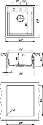 Кухонная мойка Dr. Gans Nika 470 (Ника 470) Цвет Терракота схема