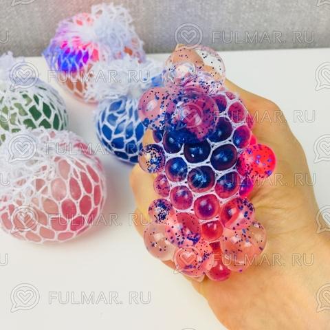 Игрушка-антистресс Виноград Mesh Savish Ball Розово-синяя с блестками Светится от удара