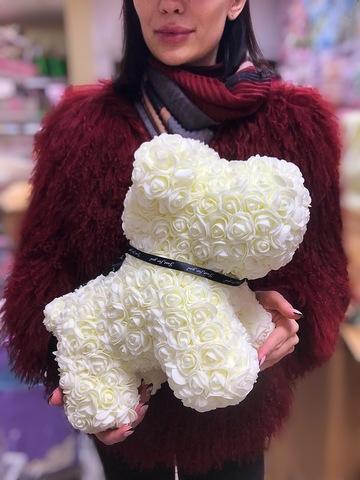 Собачка из роз 40 см в подарочной коробке #15271