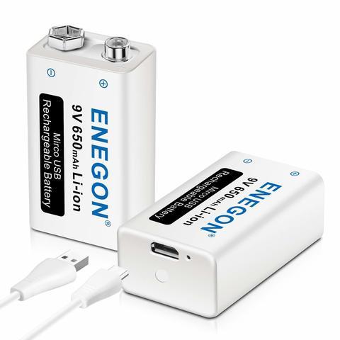 Аккумулятор ELZLE 9V 650mAh Li-ion Крона или 6F22 с micro USB разъемом