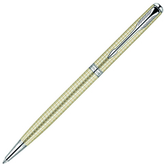 Шариковая ручка Parker Sonnet`10 Cisele Decal Slim, K435 (серебро 925 пробы) цвет: Silver CT, стержень: Mblk