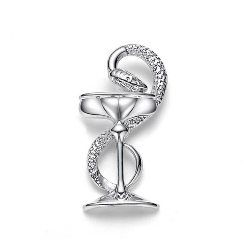 Брошь Гиппократова чаша (серебряный цвет)