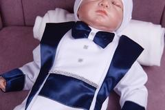Комплект на выписку для мальчика Вилли белый с синим