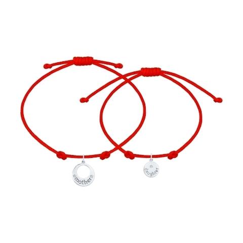 Парный браслет-красная нить с подвесками