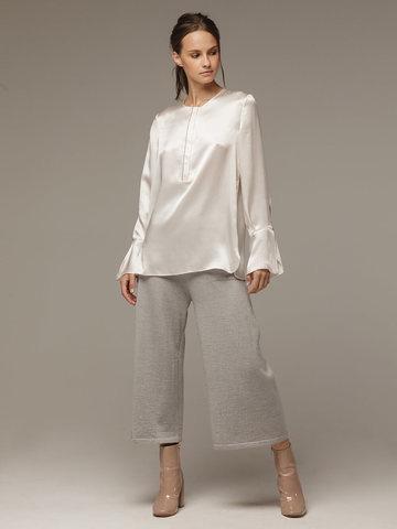 Женская белая блузка из 100% шелка - фото 4