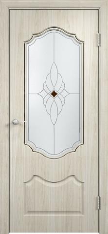 Дверь Верда Венера, стекло Сатинато Ромб, цвет беленый дуб мелинга, остекленная