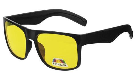 Очки с желтыми поляризованными линзами. Артикул А01. Вид полупрофиль. Входят в комплект