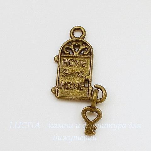 """Подвеска """"Дом с ключиком"""" (цвет - античная бронза) 26х12 мм"""