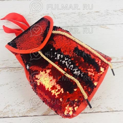 Рюкзак-мешок с пайетками меняющие цвет Красно-Чёрный  Мини