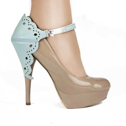 Автопятка для женской обуви на каблуке ажурная голубая