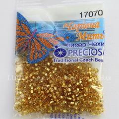 17070 Бисер 10/0 Preciosa прозрачный янтарный с серебряным квадратным центром