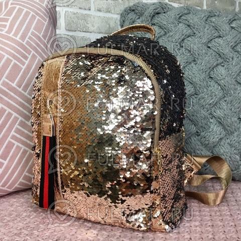 Рюкзак пудровый с пайетками меняющий цвет Пудровый-Серебристый с молнией LOLA