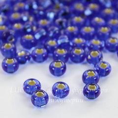 37050 Бисер 5/0 Preciosa прозрачный синий с серебряным квадратным центром