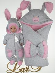 Зимний набор на выписку новорожденных Зайка (серый/розовый)