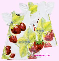 1298 платье земляничка с сумочкой