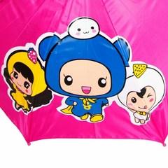 Детский зонт малиновый с японскими мультяшными девочками и ушками со свистком