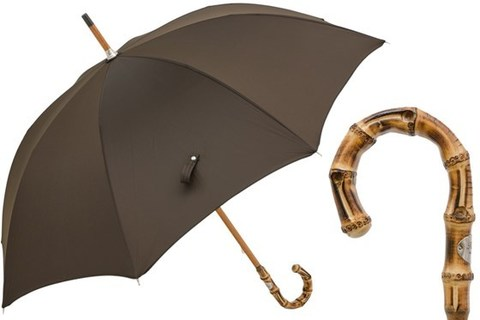 Зонт-трость Pasotti  Oxford Brown Umbrella with Bamboo Handle, Италия
