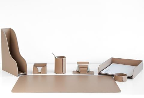 Аксессуары для рабочего стола, 7 предметов из кожи цвет cafe latte