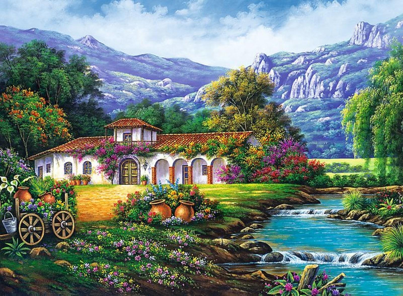 Картина раскраска по номерам 40x50 Домик у реки с видом на ...