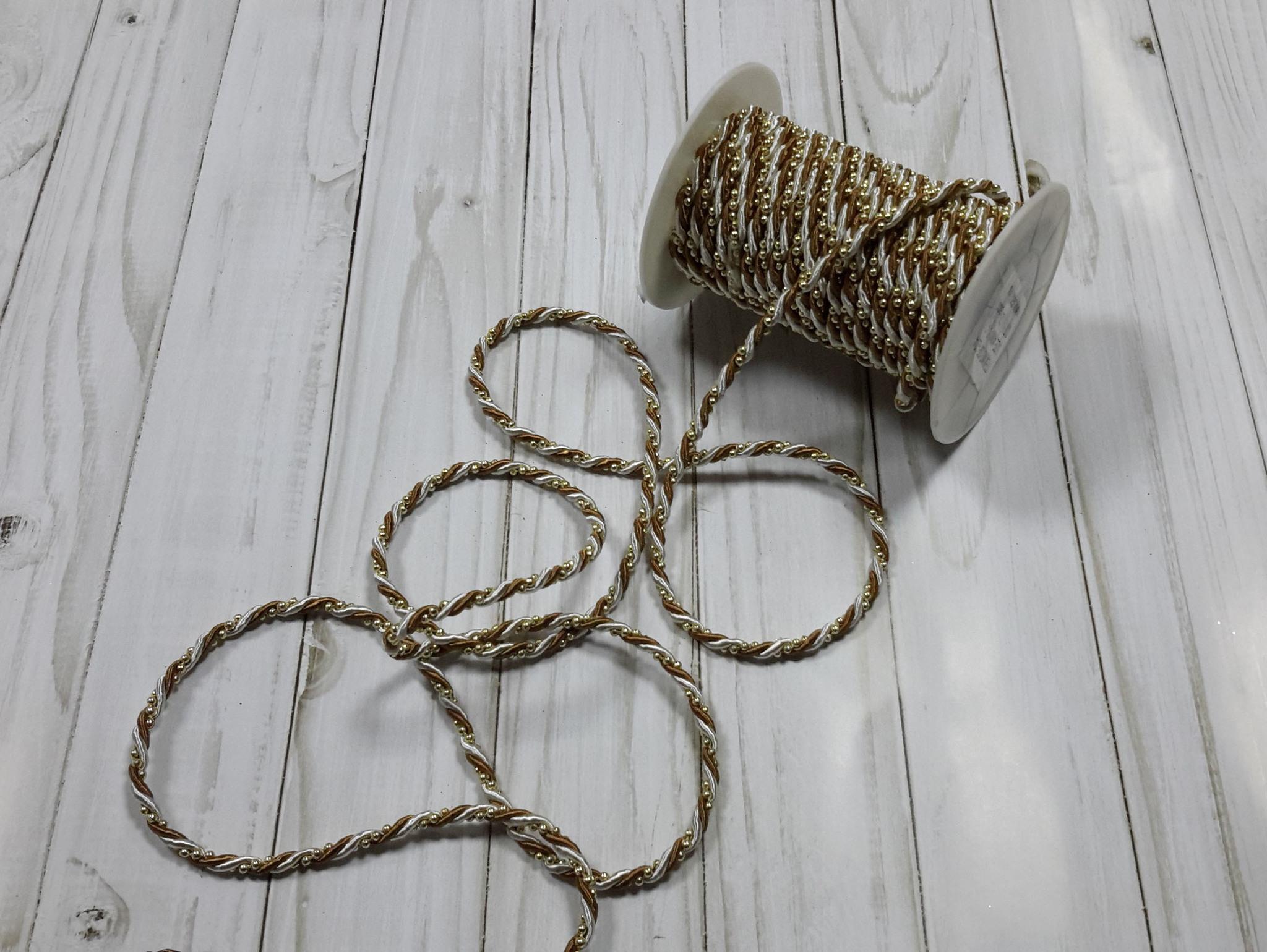 Шнур декоративный двухцветный с бусинками, 4 мм, 1 м.