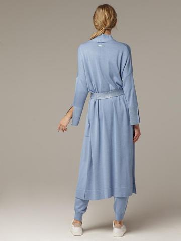 Синий кардиган из струящегося шёлка с кашемиром - фото 2