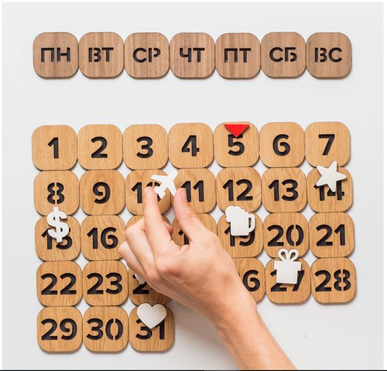 Вечный магнитный календарь, дерево от 2 500 руб