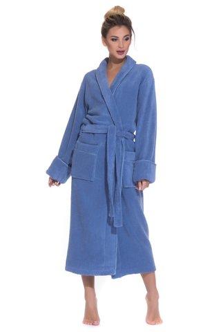 PAOLA 920 голубой женский махровый халат   PECHE MONNAIE Россия