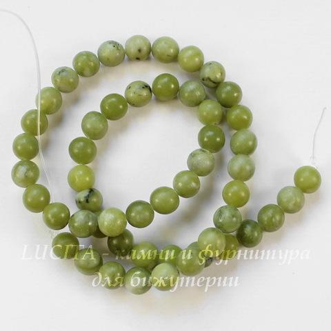 Бусина Жадеит, шарик, цвет - оливковый, 8 мм, нить
