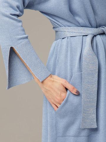 Синий кардиган из струящегося шёлка с кашемиром - фото 3