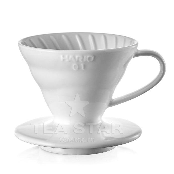 Кофейные аксессуары Воронка Hario 60, VDC-01w, керамическая для приготовления кофе, белая Hario_V60-VDC-01w-1.jpg