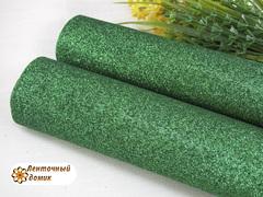 Кожа с мелким глиттером зеленая