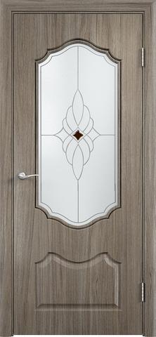 Дверь Верда Венера, стекло Сатинато Ромб, цвет вишня малага, остекленная