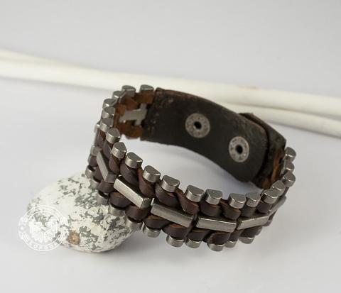 BL393-2 Темно-коричневый браслет из натуральной кожи и металла (19-21 см)