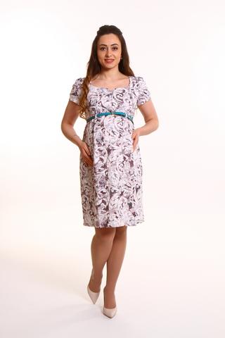 Платье 07567 коричневый/белый