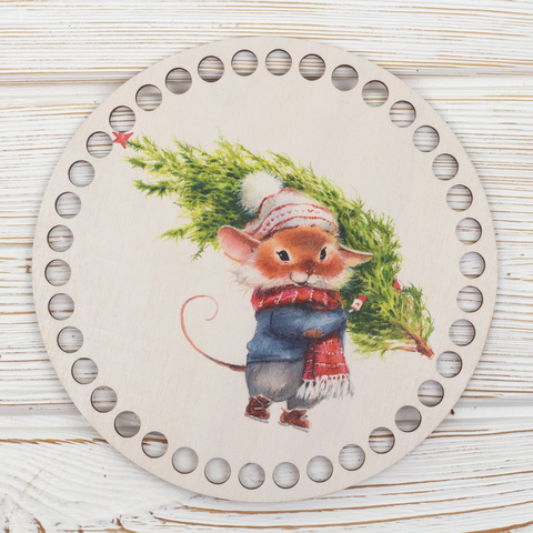 """Круглая заготовка с рисунком """"Новогодняя мышка"""" 15см из фанеры"""