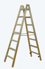 Двусторонняя лестница из дерева, с перекладинами, 2 х 7 перекладин