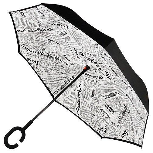 Часы/Рюкзаки/Зонты Зонт наоборот Белая газета 1652_1.jpg