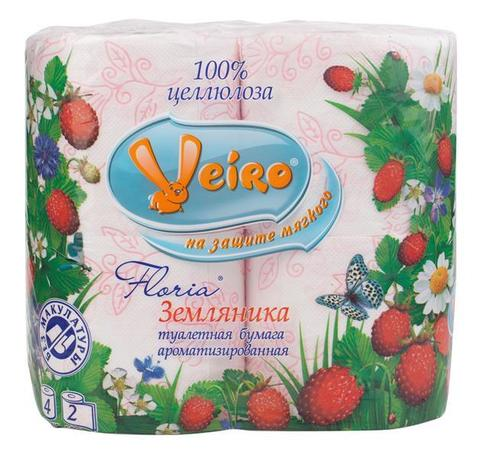 Туалетная бумага ВЕЙРО Флориа с рисунком 4 рул*25м 2сл (в ассортименте)