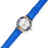 Часы на кожаном синем ремешке с ободом мультиколор