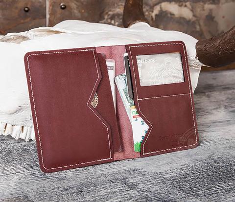 WB117-3 Обложка с окошком для паспорта и документов ручной работы