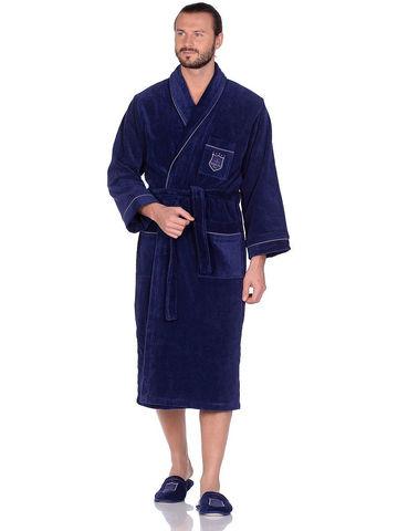 BOSWELL-БОСВЭЛЛ синий мужской  халат с тапочками  Maison Dor Турция
